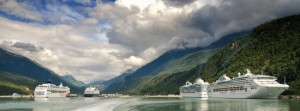 "A ""4-ship day"" in the tiny port of Skagway, Alaska. Photo: Jeff Tupper"