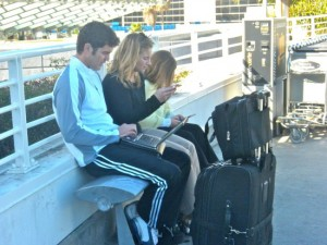 Modern family between flights at Los Angeles International Airport. Photo: Wendy Redal