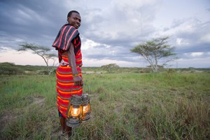 African with lanterns
