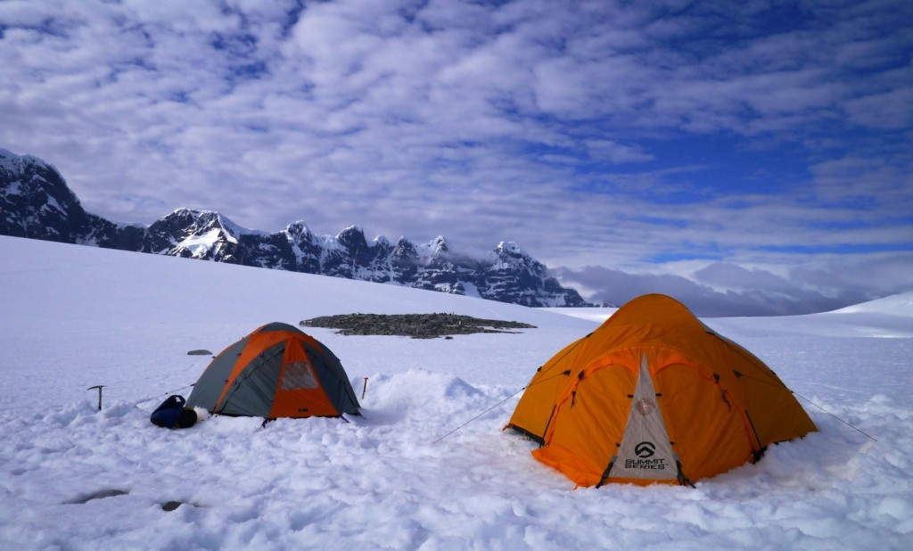 Antarctica camping, tent, on shore