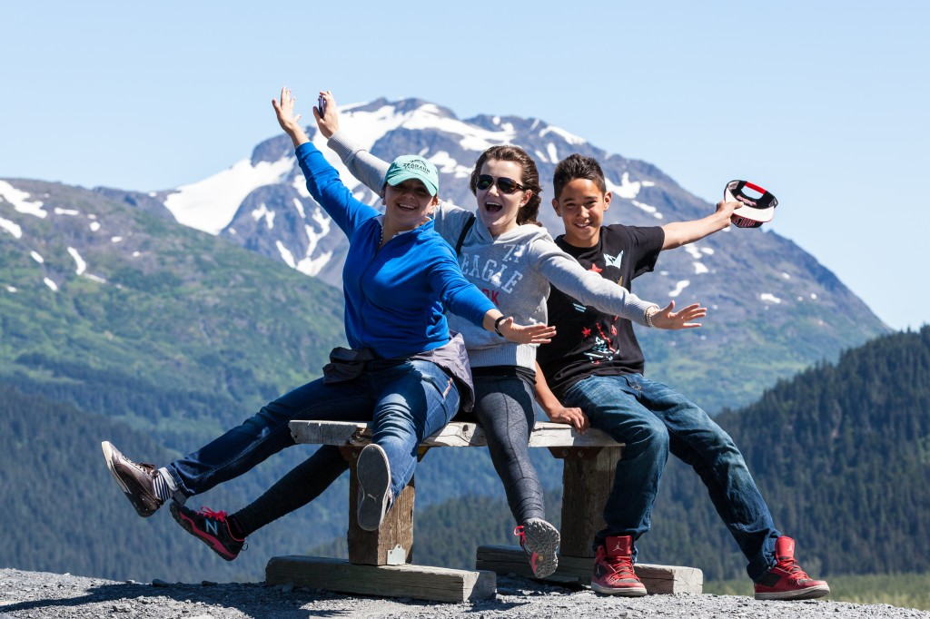 A family having fun traveling in Alaska