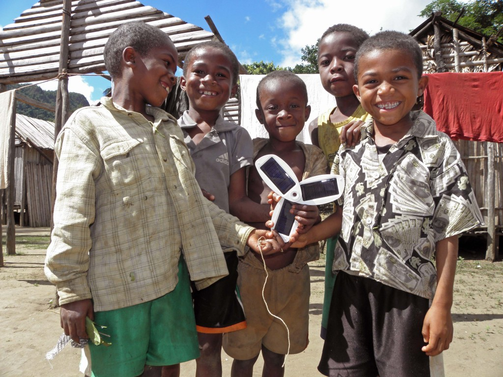 Another item I try not to leave home without is my pocket solar charger, pictured here with children in the village of Antsahaberaoka in rural Madagascar. © Rachel Kramer/WWF-US