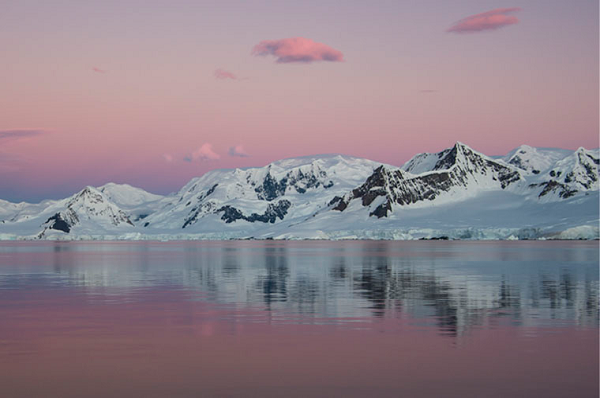 Beautiful Antarctica sunset