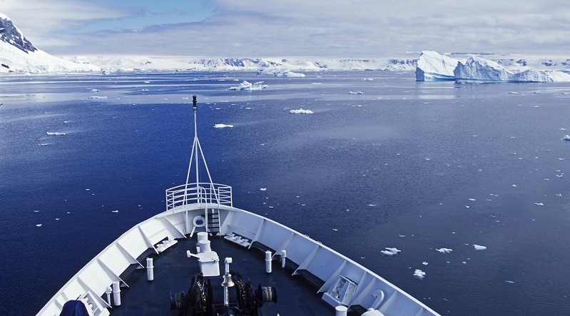 Ship deck, Antarctica expedition, approaching icebergs