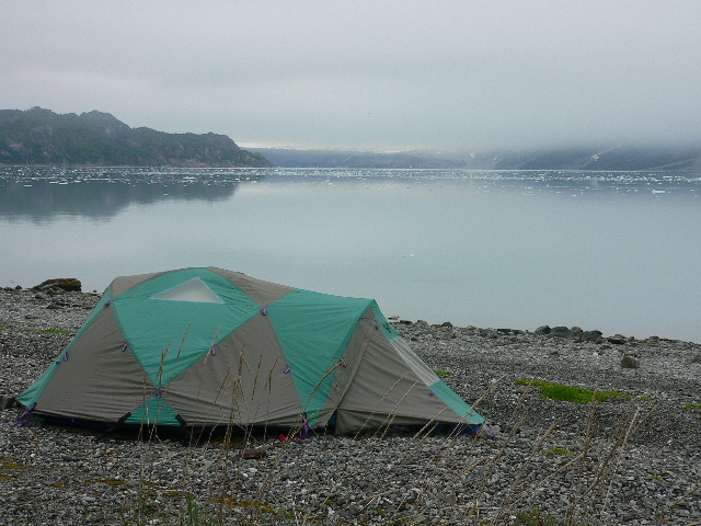 Tent with Glacier Bay and ice in the background