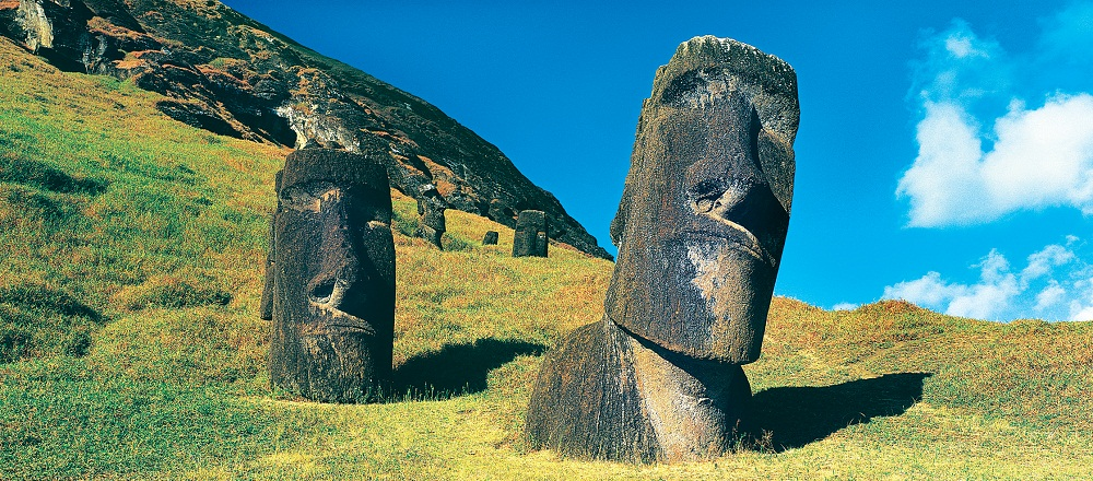 monolithic moai statues on Easter Island