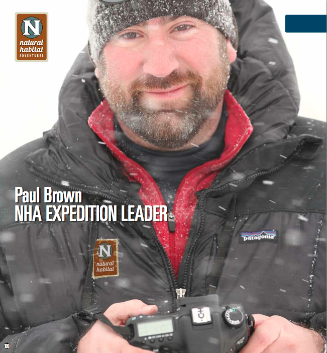 Paul Brown smiles through the falling snow during a brief respite from wildlife photography