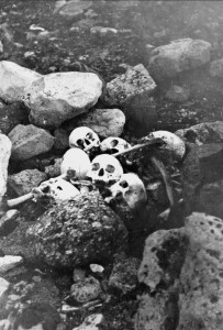 Remains of members of the Franklin Expedition discovered on King William Island in 1945 by William Skinner and Paddy Gibson at King William Island in Nunavut. The British explorer's grave has yet to be located. [National Archives of Canada/Canadian Press]
