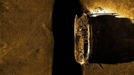 A sea floor scan reveals one of the missing ships from the Franklin Expedition of 1845. [Parks Canada/Canadian Press]