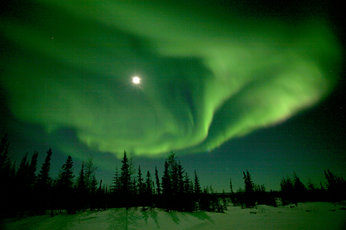 Green northern lights and mood