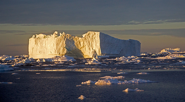 Greenland ice in yellow light