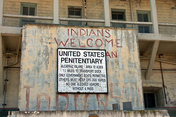 The first sign you see when you arrive on Alcatraz reminds you of the island's rich human history. ©Candice Gaukel Andrews