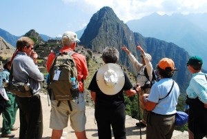 Nat Hab guide explains the history of Machu Picchu to guests. (c) Megan Koelemay