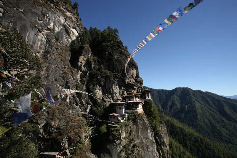 Bhutan, mountain, prayer flags