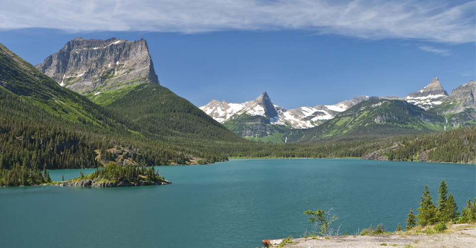 Sun Point on St. Mary Lake view of mountains of Glacier National Park, Montana