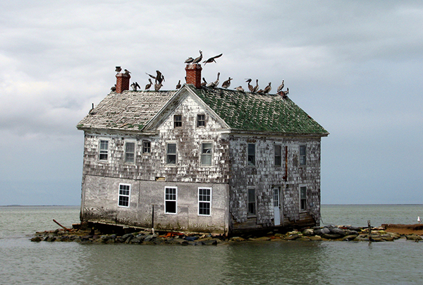 Unusually high rainfall is also a result of rapid climate change. This is the last house on Holland Island, Maryland, after the storms of 2010. ©baldeaglebluff, flickr