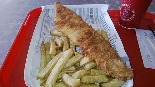 "Atlantic cod is often the fish in the popular dish ""fish and chips."" ©Mickey, flickr"