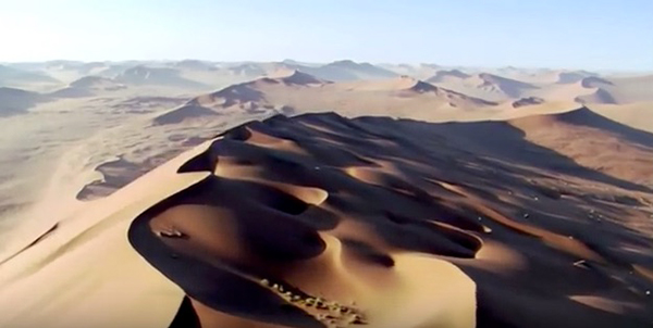 "The deserts episode of ""Planet Earth"" featured unique aerial views of the dunes and rocky escarpments of the Namibian deserts. ©British Broadcasting Corporation (BBC)"