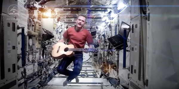 "More than 40 years after the original release of David Bowie's song ""Space Oddity,"" Canadian astronaut Colonel Chris Hadfield tested acoustics at zero gravity by singing it on the International Space Station. ©Onward Music Limited"