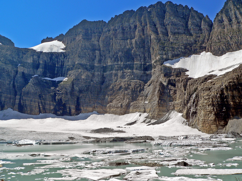 Grinnell Glacier, in the heart of Glacier National Park, has shrunk considerably since 1850. © Melissa Scott/NHA