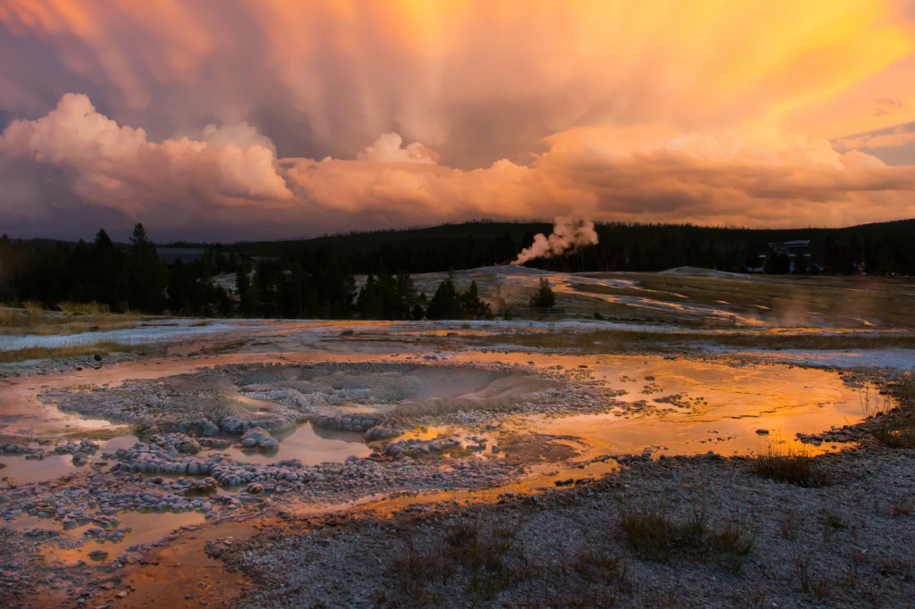 Yellowstone sunset over hot springs