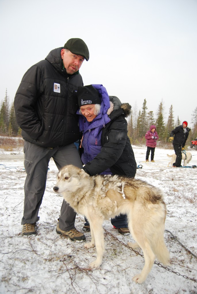 Elsa with sled dogs and expedition leader in Churchill