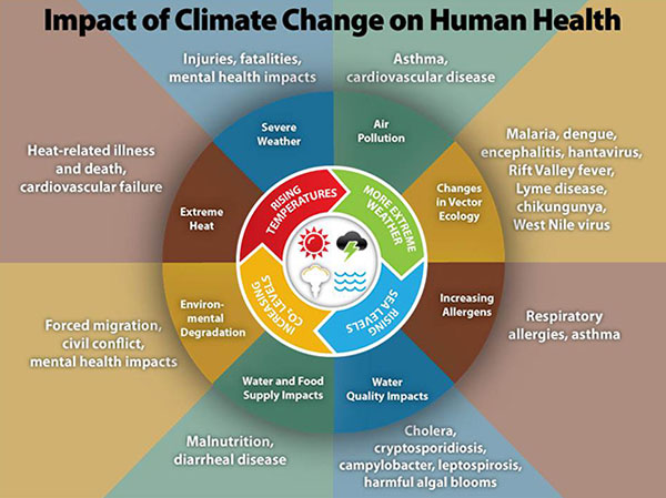 Climate change influences human health and world politics in numerous ways. ©CDC