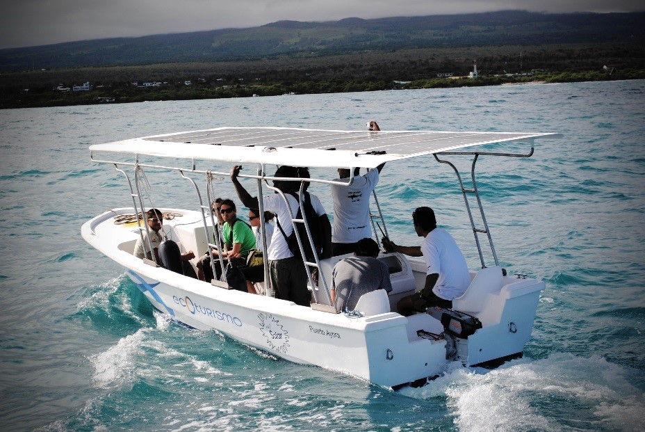 Originally confiscated from illegal fishing operations; WWF transformed this boat to demonstrate the importance of renewable energy and the need for a smaller human footprint in this delicate marine environment. WWF encourages the community to adopt energy alternatives and uses the boat as an educational tool. © WWF-Ecuador