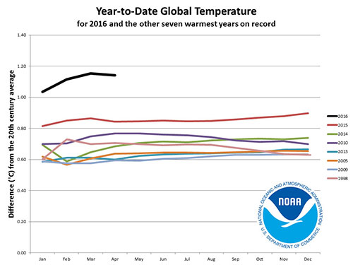 What will the average global temperature be in another eight years? ©NOAA