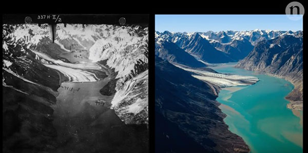 "Within a span of 80 years, there has been a dramatic change in the extent of Greenland's ice. ©From the video ""Glaciers Lost in Time"" by Nature Video"