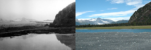 Glacier retreat is one of the most visible climate impacts. Notice the change in Alaska's Kenai Fjords Bear Glacier from 1909 to 2005. ©National Park Service