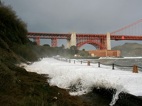 Rapid climate change results in increased sea levels and storm surges, such as this one at Golden Gate National Recreation Area. ©National Park Service