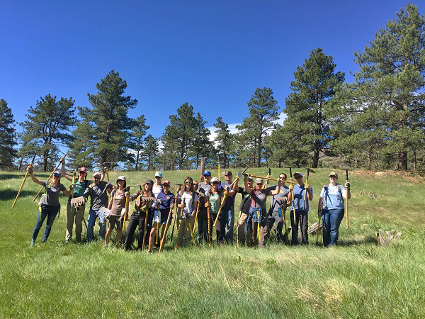 Natural Habitat Adventures employees building a Colorado trail