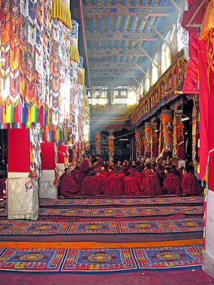 Monks in their monastery in Tibet