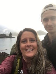 Camie and her son in the Galapagos