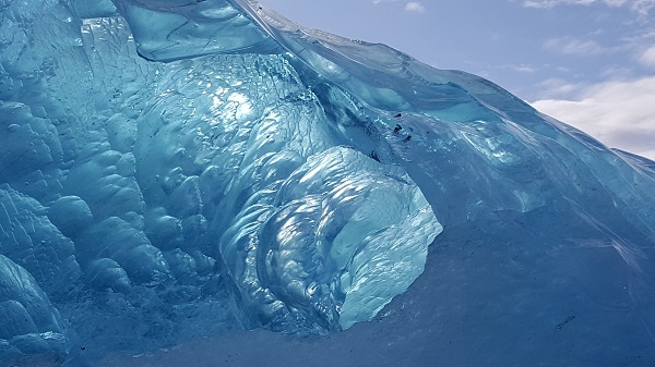 Blue ice tunnel in East Greenland