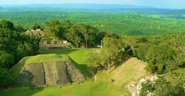 Mayan temple in the jungle in Belize.