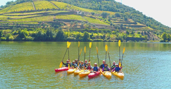 Kayakers on the Douro River in Portugal.