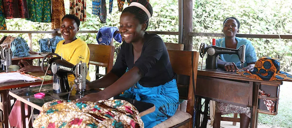 Ride4AWoman sewing in Uganda.