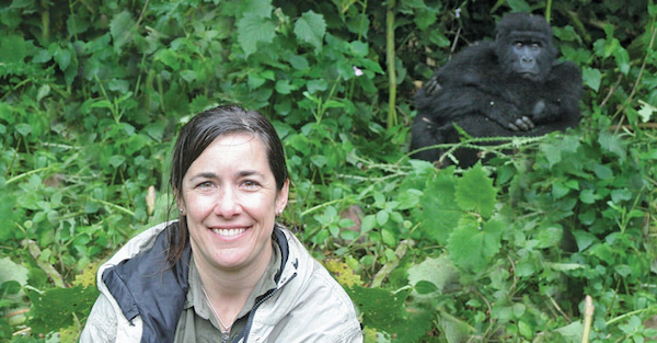 Natural Habitat Adventures traveler posing with a gorilla, Bwindi Impenetrable National Park, Uganda.