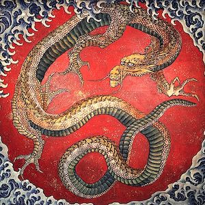 Painting of dragon with waves.